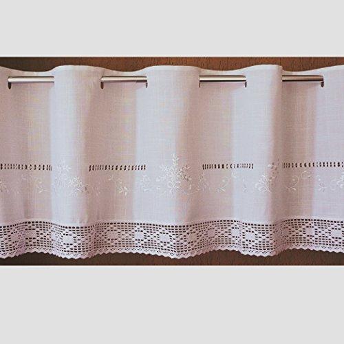 Scheibengardine 45x145 cm aus schöner Landhaus Serie Stickerei mit Häkelspitze in weiß Bistrogardine gehäkelt & Bestickt Country Chic Gardine Typ368