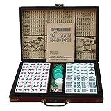 ChengBeautiful Mini Mahjong Mini Mahjong Chino Conjunto de 146 Portátil Profesional Chino Mahjong con la Caja de Madera (Color, Size : 24x18x13mm)