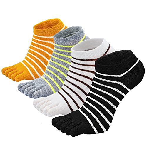 PUTUO Calcetines de Dedos Mujer Calcetines Cinco Dedos de Deporte, Mujer Calcetines del Dedo del Pie, Calcetines de Algodón, suave y transpirable, 4 pares