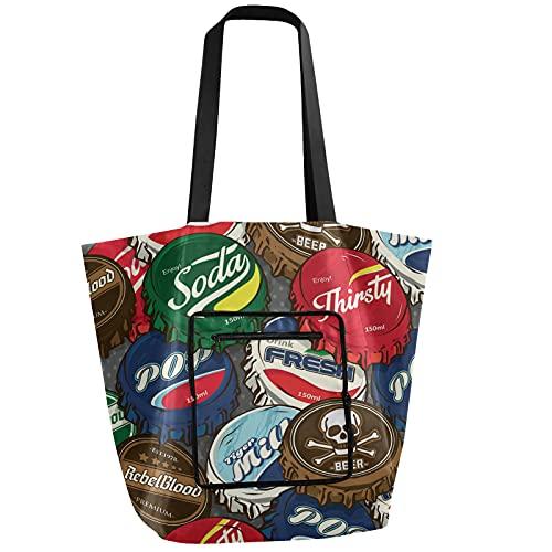 Gorras de botella retro plegable bolsa de hombro reutilizable bolsa de comestibles resistente bolsa de compras para gimnasio deportes equipaje