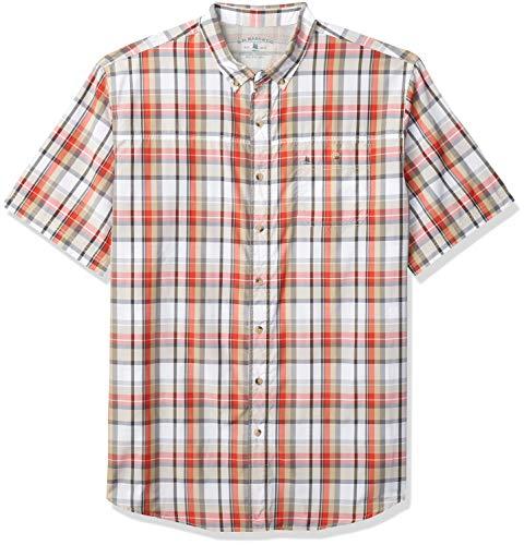 G.H. Bass & Co. Men's Big & Tall Big Explorer Short Sleeve Fishing Shirt Button Pocket, Valiant Poppy Large Plaid, 3X-Large Tall