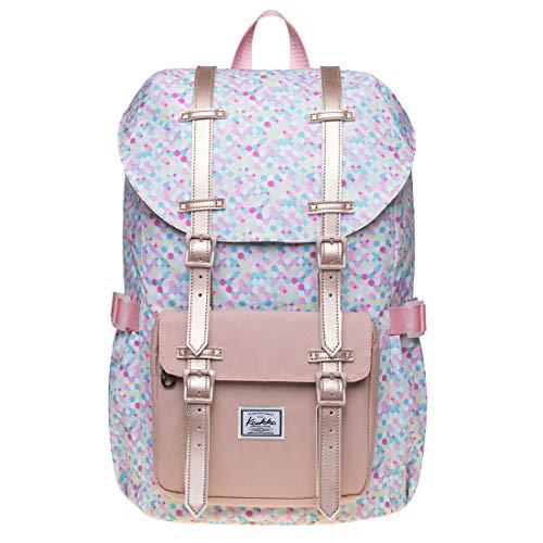 KAUKKO Fertiger Rucksack Damen für die Schule, Uni, Arbeit, Reisen mit Laptopfach für den täglichen Gebrauch, 42 * 26 * 15 cm, 16L, Mini
