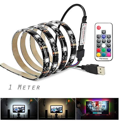 Vansuky USB Tiras LED Iluminación, SMD 5050 60LEDs 1 metro\3.28ft RGB tira flexible de LED, Control remoto incl, Tira de luz LED para decoración, Tira llevada impermeable IP65, Luz de fondo de la TV