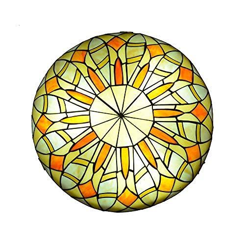Lámpara de Techo LED Estilo Tiffany, lámpara de Techo de Vidrio Hecha a Mano mediterránea, Sala de Estar, Dormitorio, Pasillo, decoración, Luces de Techo Colgantes, 12 Pulgadas (30 cm) de lu