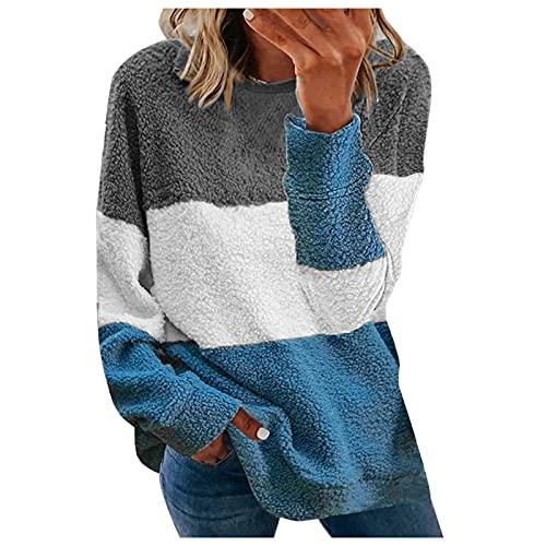 ZDYZDQ Chaqueta de lana para mujer Moda para mujer Empalme Cuello redondo Manga larga Tops sueltos de felpa Jumper Sudaderas con capucha de bolsillo para mujer Chaquetas largas y elegantes Abrigo