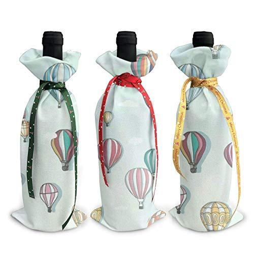 Bolsas para botellas de vino de 3 piezas, bolsa de asas navideña con globo aerostático para bodas, regalos de fiesta, Navidad, vacaciones y suministros para fiestas de vino