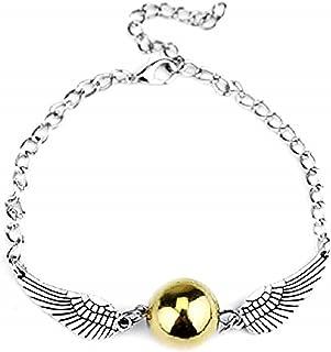 Legisdream Pulsera Snitch dorada con alas de ángel, color plateado, ideal como regalo para fiestas, cumpleaños y snito de ...