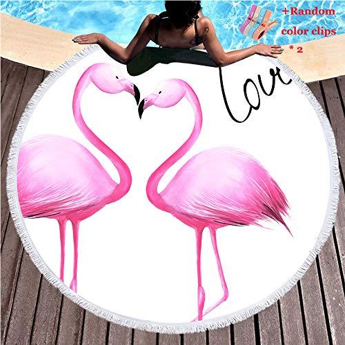 Morbuy Strandtuch Rund 150cm Mandala Rosa Liebes Flamingo, Böhmen Handwerk Quaste Strand Yoga Matten Tragbare Tapestry Überwurf Mikrofaser Tischdecke Picknickdecke Badetuch Schal