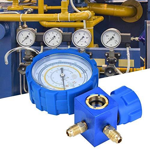 Manómetro de aire acondicionado Zunate, Manómetro de aire acondicionado Herramienta de refrigeración de aire acondicionado de baja presión con mirilla G1/4, diseño anticolisión, envoltura de plástico