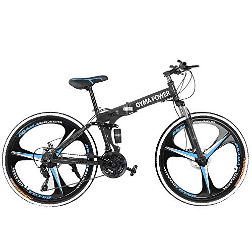 26in Folding Mountain Bike, Full Suspension Road Bikes, 21 Speed Bicycle Full Suspension with Disc Brakes MTB Bikes for Men/Women (Black)