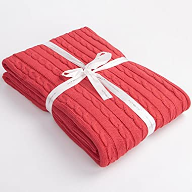 NTBAY 100% Cotton Cable Knit Throw Blanket Super Soft Warm Multi Color(51 x 67 , Red)