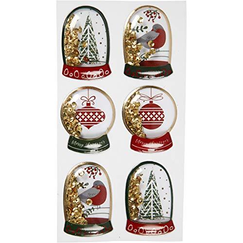 Shaker stickers, afm 49x32+45x36 mm, goud, vogel, boom en kerstballen, 6stuks