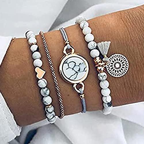 Branets Pulseras de borlas Boho Pulsera de oro turquesa Cadena de mano de corazón Accesorios de joyería para mujeres y niñas (4 piezas)