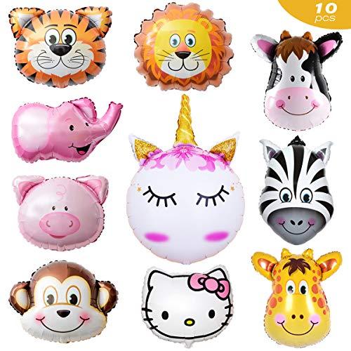 Afuqa 10 Stück Tiere Folienballon Luftballons Tiere Helium Folienballon Kindergeburtstag Ballons,Perfekt für Kinder Geburtstag Party Dekoration