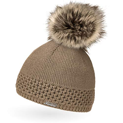 Neverless® gefütterterte Damen Strickmütze mit Fell-Bommel, Kunstfell, Winter-Mütze, Bommelmütze, braun Unisize
