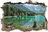 enorme lago in un paesaggio di montagna muro passo avanti nel look 3D, parete o in formato adesivo porta: 92x62cm, autoadesivi della parete, autoadesivo della parete, decorazione della parete