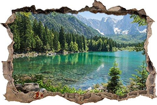 enorme lago in un paesaggio di montagna muro passo avanti nel look 3D, parete o in formato adesivo porta: 92x62cm, autoadesivi della parete, autoadesi