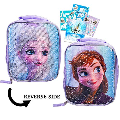 Disney Frozen Lunch Box Bundle - Deluxe Insulated Reversible Sequin Elsa and Anna Lunch Bag for Kids with Frozen Olaf Stickers (Frozen School Supplies)