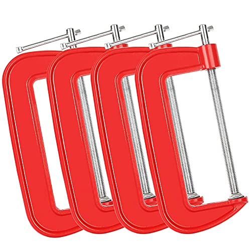 4-pieces C Clamps Set 6 Inch Heavy Duty Steel C Clamp - Industrial Strength C Clamp Set, 6-Inch Jaw Opening, 2-3/4 Inch Throat Depth for Woodworking, Welding, Building (Red)