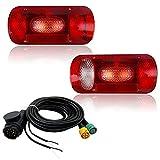Hawkeye Par de luces traseras para remolque, 6 funciones, cuadrado para camioneta (rojo con cable, rectángulo)