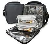 NERTHUS Lunch Bag Fiambrera bolsa termica porta alimentos Gris + 2 tupper, Tela...