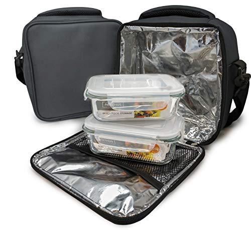 NERTHUS Lunch Bag Fiambrera bolsa termica porta alimentos Gris + 2 tupper, Tela Resistente, Con 2 Herméticos Cristal, Con 2 Tuppers Cristal