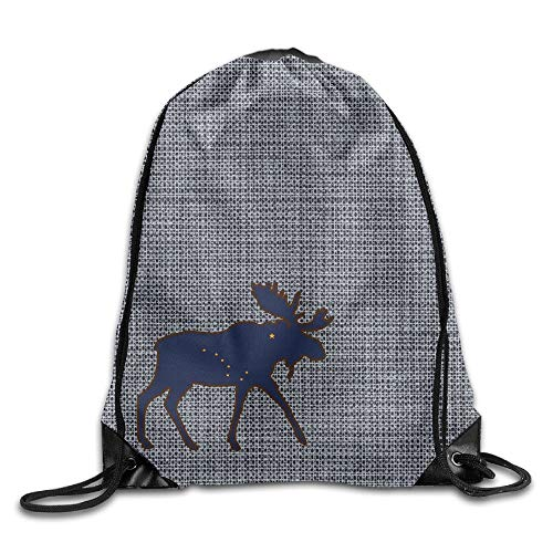 JIMSTRES Alaska State Animal Moose Flag Bag Gym Drawstring Backpack