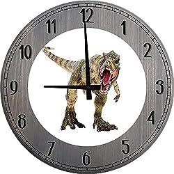556 Gear Jurassic Dinosaur Wall Clock T-Rex Wall Decor Large Wood Wall Clock Barnwood Gray 14 inch