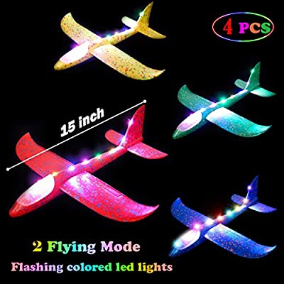 MIMIDOU Glider Plane 4 Packs, faom Plane Have 2 Flight Mode and 2 Ways to Play, The Best Gift Outdoor Flying Airplane Toy for Kids. by MIMIDOU
