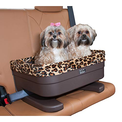 """Pet Gear Booster Seat for Dogs/Cats, Removable Washable Comfort Pillow + Liner, Safety Tethers Included, Installs in Seconds, No Tools Required, Chocolate/Jaguar, 20"""""""