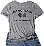 Women T Shirts Printed Rose Apothecary Graphic Tees Summer Funny Vintage Casual Short Sleeve Tops Cute Flower Letter Pattern Fitted Tshirt Cotton Blend Crew Neck Saying Shirt Dark Gray M