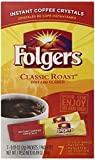 Folgers Classic Roast Instant Coffee Crystals, 7 Single Serve Packets