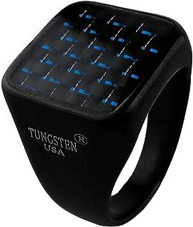 خاتم تنجستين مربع للرجال عالي الصلابة بحجر زجاج مضئ ازرق على شكل رقعة شطرنج مقاوم للصدأ والخدش والماء مقاس 9 US - اسود
