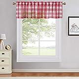 CAROMIO Voile Kitchen - Tendina a quadretti Gingham a metà finestra, motivo a righe, per bagno, 66 cm x 77 cm, set da 2, colore: Rosso con bianco