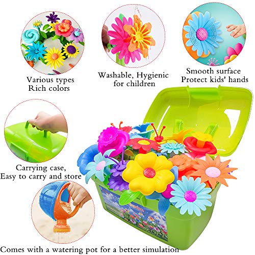Scientoy Flower Garden Building Toys, Stem Toys Build a Garden for Girls, 130 PCS Flower Pretend Gardening Gift for Kids, Floral Arrangement Playset for Age 3-7 Year Old Child Educational Activity