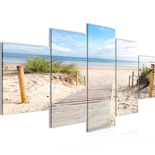 Bilder Strand Meer Wandbild Vlies - Leinwand Bild XXL Format Wandbilder Wohnzimmer Wohnung Deko Kunstdrucke Blau 5 Teilig - MADE IN GERMANY - Fertig zum Aufhängen 607353b