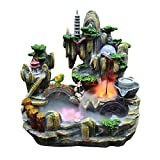 Indoor fountain Indoor and Outdoor Waterfall Fountains and Natural Man-made Mountain Stone Bridges and Pavilion Desktop Fountains Home Office Decoration Feng Shui Wealth Decoration Gifts Bedroom Relax