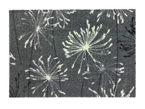 Schöner Wohnen Kollektion Rutschhemmende Sauberlaufmatten Manhattan – waschbarer Teppichläufer – strapazierfähige Schmutzfangmatten – (Pusteblume grau-Mint, 50 x 70 cm)