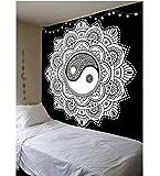 Blanc Noir Ying Yang Mandala Tapisserie Tenture Murale Couvre-lit Home Decor Boho Hippy Décoratif Hippie Tapisserie Tapis 150 * 230cm