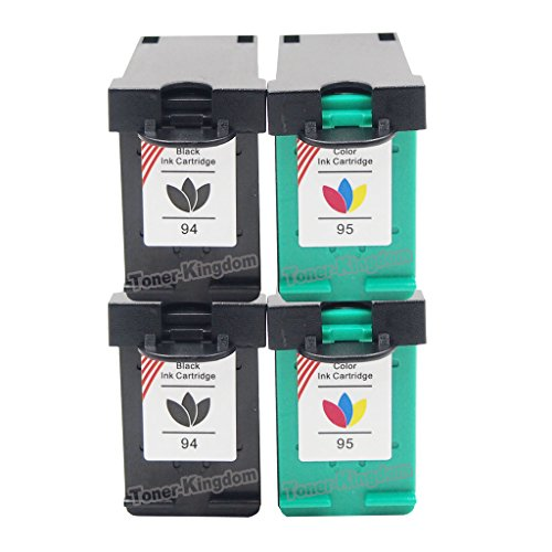 Toner Kingdom Compatible Ink Cartridges Replacement for HP 94/C8765WN and 95/C8766WN - 4 Pack, 2PK Black + 2PK Color