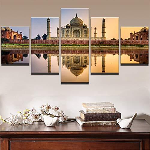 zzlfn3lv Arte de la Pared Cartel Sala de Estar Decoración del hogar 5 Taj Mahal Pinturas sobre Lienzo Arquitectura India Paisaje Imágenes PENGDA-Sin Marco