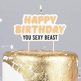 Miss Lovely Geburtstags-Kerze Kuchen-Stecker Torten-Aufsatz Happy Birthday You SEXY Beast Gold - lustige freche Geburtstagsdekoration für Kuchen & Torten Erwachsene Frauen & Männer Gebäck-Deko