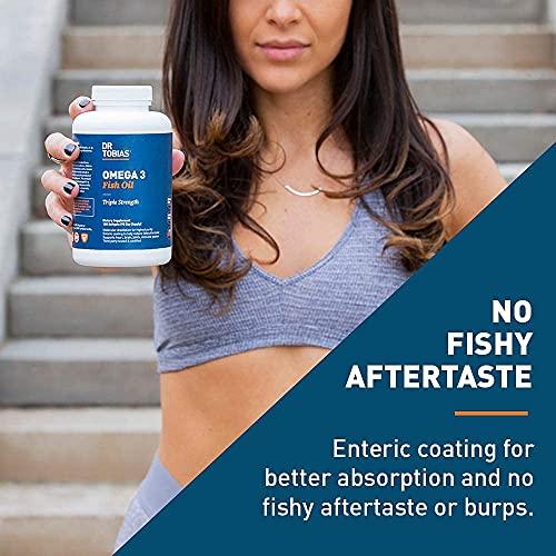 Aceite de pescado Dr. Tobias Omega-3, triple fuerza, apoya la salud cerebral y cardíaca, 2000 mg por porción, 180 geles blandos (2 diarios)
