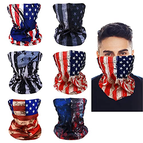 LYDTICK 6Pack American Flag Face Gaiters for Men Women, UV Protection Patriotic Face Mask Neck Gaiters Cooling Headband Bandana for 4th of July Independence Day