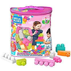 60 building blocks in sweet colours, including distinct shapes  Ideal for little hands   Hands-on play for early childhood development  Storage bag for easy clean up  Combine with other Mega Bloks preschool toys and build them up