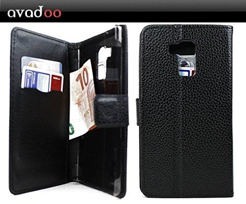 avadoo® Vernee Apollo Lite Flip Hülle Cover Tasche Schwarz mit Magnetverschluss & Dualnaht als Cover Tasche Hülle