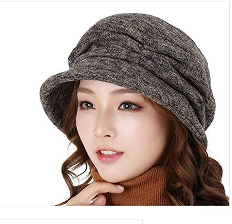 Dingkun Elegant autumn and winter women's hats European and American fashion warm casual curling big head cap