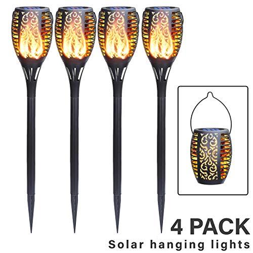 FLOWood Solar Gartenfackel realistischer Flammeneffekt 2 in 1 Solar Hängeleuchte für Garten Solar Gartenleuchte IP65 wetterfest ABS 4 Stück