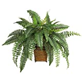 Nearly Natural 6549 23in. Boston Fern with Wicker Basket Silk Plant