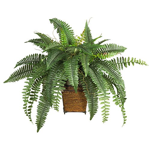 Nearly Natural 23in. Boston Fern with Wicker Basket Silk Artificial plant, Green